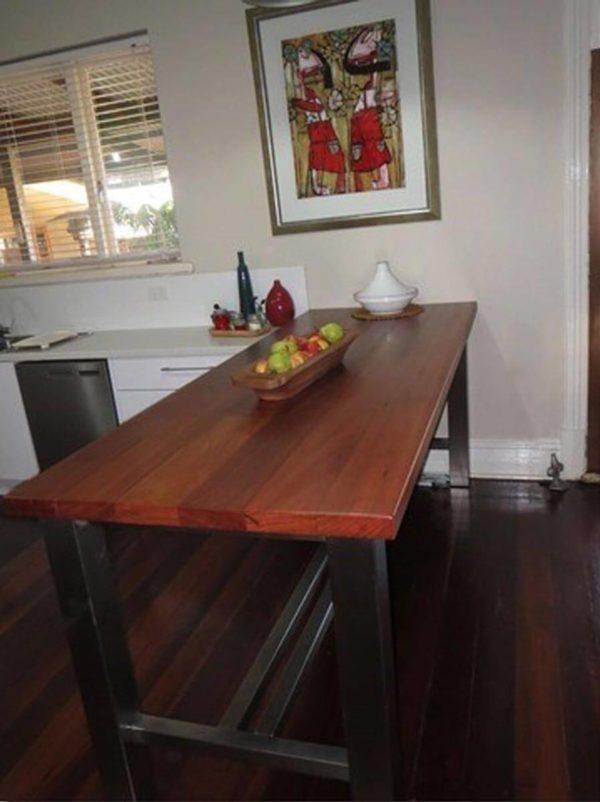 York Jarrah and Stainless Bar Table